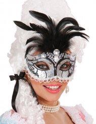 Maske Renaissance Pailletten Feder Damen