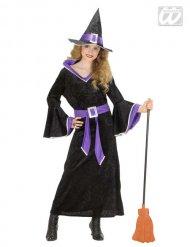 Hexenkostüm schwarz-lila für Mädchen