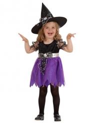 Süsse Hexe Kinderkostüm Magierin schwarz-lila