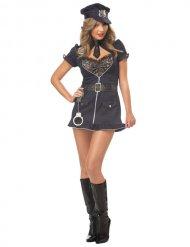 Verführerische Polizistin-Damenkostüm blau-schwarz-silber
