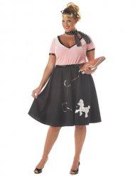 Plus Size 50er-Jahre Rockabilly-Kostüm für Damen mit Pudel schwarz-rosa