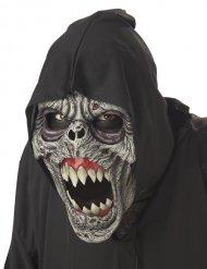 Animierte Zombiemaske Halloween grau-schwarz