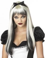 Weiße und schwarze Perücke mit langen Haaren Erwachsene