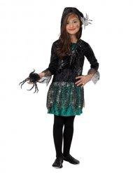Gothic-Spinnenmädchen Kostüm für Halloween schwarz-grün