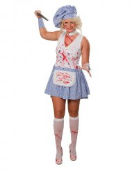 Zombie Horror-Köchin Halloween Damenkostüm weiss-blau