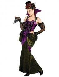 Viktorianische Vampirin Halloween-Kostüm für Damen lila-grün-schwarz