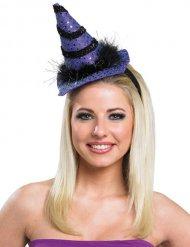 Miniatur-Hexenhut Kostümaccessoire für Damen lila-schwarz