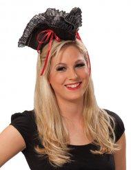 Hut Pirat rot und schwarz für Damen