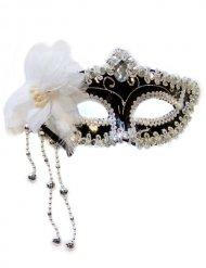 Venezianische Augenmaske mit Perlen und Blume