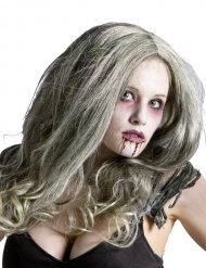 Zombiehafte-Damenperücke Horrorbraut Kostümzubehör grau