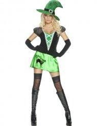 Sexy Hexen-Verkleidung Wicked Bitch Halloween grün-schwarz