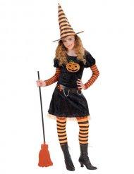 Freche Kürbis-Hexe Magierin-Kostüm für Kinder schwarz-orange