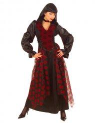Edle Barock-Vampirin Damenkostüm Halloween rot-schwarz