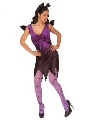 Vampir-Fledermaus Damenkostüm schwarz-lila
