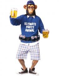 Affen-Kostüm Party Animal mit Bierhalter für Erwachsene