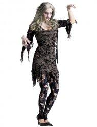 Halloween Zombie Kostüm grau für Damen