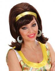 Blond Perücke 60er Jahre mit gelbem Farbband Damen