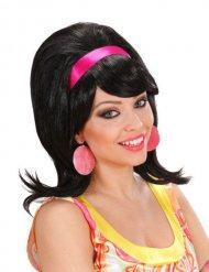 60er-Jahre Fönfrisur für Damen schwarz-pink