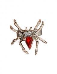 Ring mit roter Spinne Strass Halloween