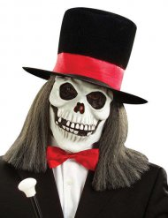 Halloween-Maske Totenkopf mit Hut für Erwachsene