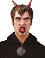 Dämonisches Make-up Set Halloween rot-weiss