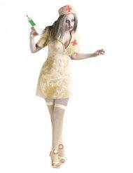 Gruselige Zombie-Krankenschwester Hallloween-Kostüm beige-grün