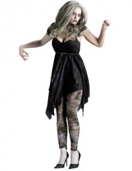 Zombiehaftes Damenkostüm Fetzen-Kleid grau-schwarz