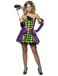 Harlekin-Karnevalskostüm für Damen Fasching bunt