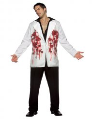 Halloween-Sakko mit Einschusslöchern Kostümzubehör weiss-rot