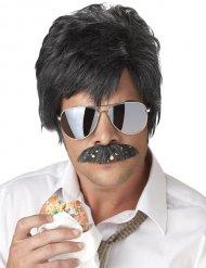 Privatdetektiv-Set mit Perücke und Schnurrbart schwarz