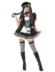 Gothic-Puppe Damenkostüm schwarz-weiss