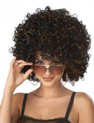 Minipli-Damenperücke 70er-Jahre Disco-Frisur schwarz-gold