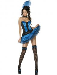 Entzückendes Showgirl Damenkostüm schwarz-blau
