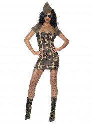 Sexy Soldaten-Kostüm für Damen kaki