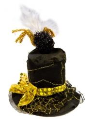 Spinnen-Zylinder Miniatur Halloween schwarz-gold