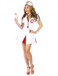 Verführerische Krankenschwester Damenkostüm weiss-rot