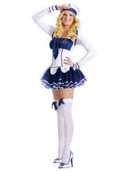 Süße Matrosin Damenkostüm Marine blau-weiss