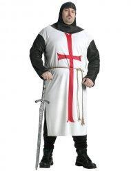 Mächtiger Tempelritter Herrenkostüm für Karneval weiss-rot-schwarz