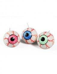 Dekoration 3 Kerzen in Augenform mehrfarbig 3cm