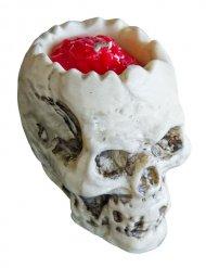 Totenschädel-Kerze Tischzubehör Halloween Gehirn grau-rot