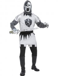 Ritter-Kostüm für Herren Zombie Halloween grau-weiss-schwarz