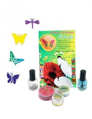 Glitzer-Tattoo-Set Schmetterling-Motive 9-teilig bunt