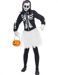 Skelett-Damenkostüm mit Knochen Halloween schwarz-weiss