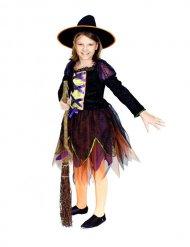 Kleine Magierin-Kostüm für Kinder Hexe schwarz- grün-orange