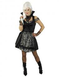 Düsteres Gothic-Dirndl für Damen Vampirin schwarz-silber