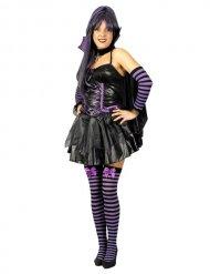 Düsteres Gothic-Vampirkostüm für Damen Halloween schwarz-lila