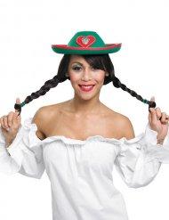 Tiroler Hut für Erwachsene grün-rot