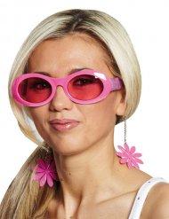 Hippie Blumen-Brille für Damen rosa