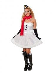 Schneemann-Kostüm für Damen winterliche-Verkleidung weiss-rot-schwarz