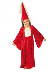 Bezauberndes Prinzessinen-Kostüm Mittelalter rot-weiss-gold